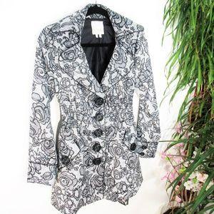 XOXO Black White Floral Print Trench Coat